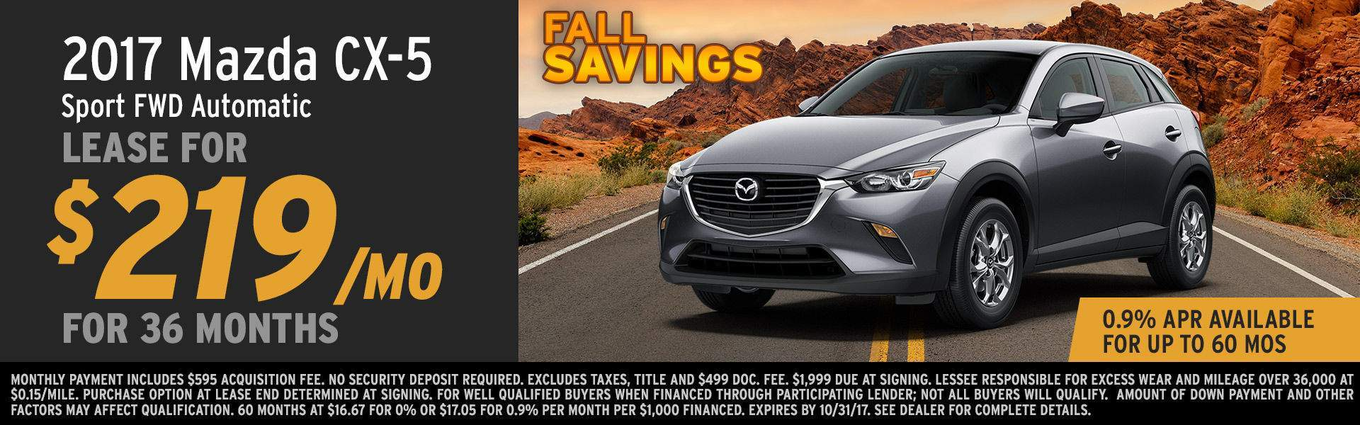 2017 CX-5 Lease Special at Earnhardt Mazda