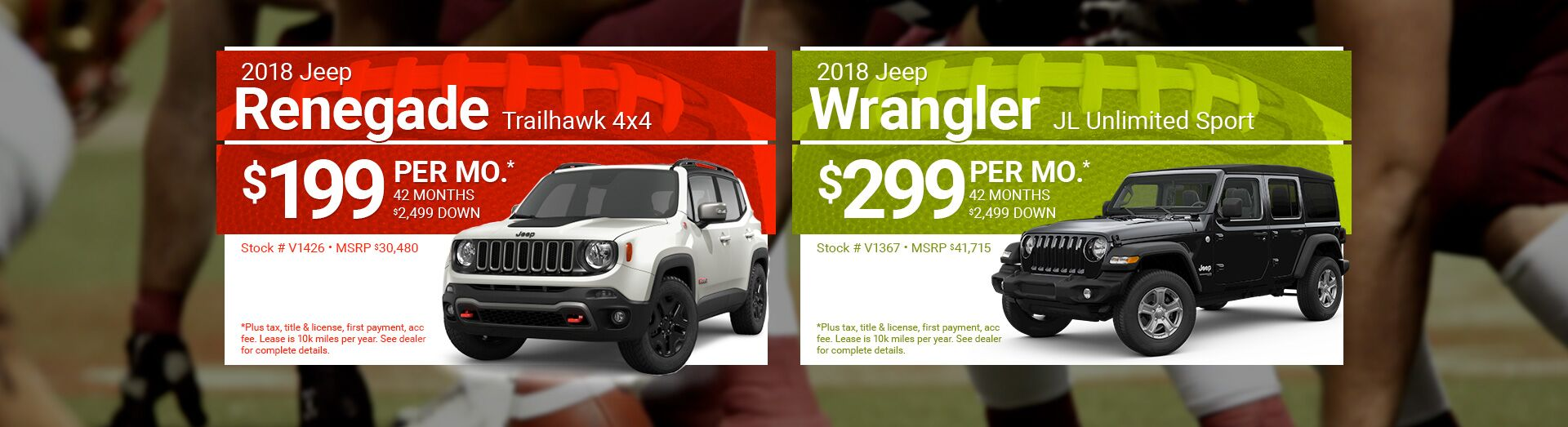 2018 Jeep Renegade and Wrangler