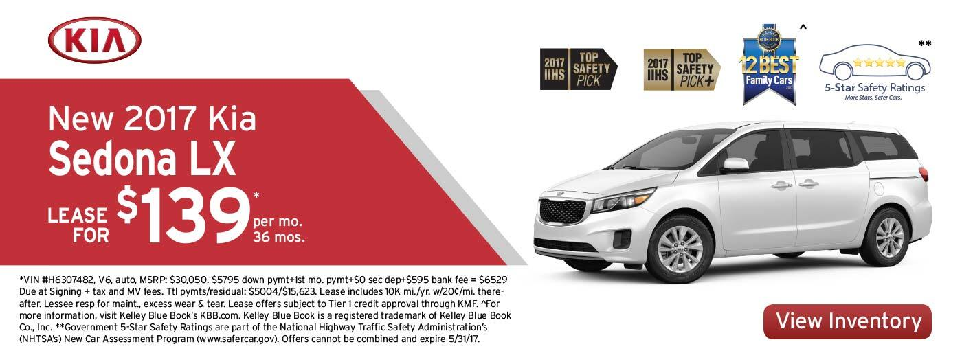New 2017 Kia Sedona LX Lease