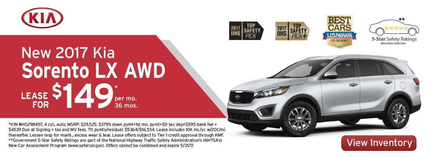 New 2017 Kia Sorento LX Lease