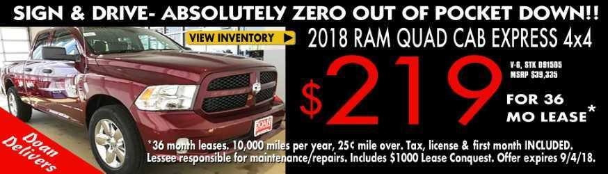 Lease '18 RAM 1500 for $249/mo.