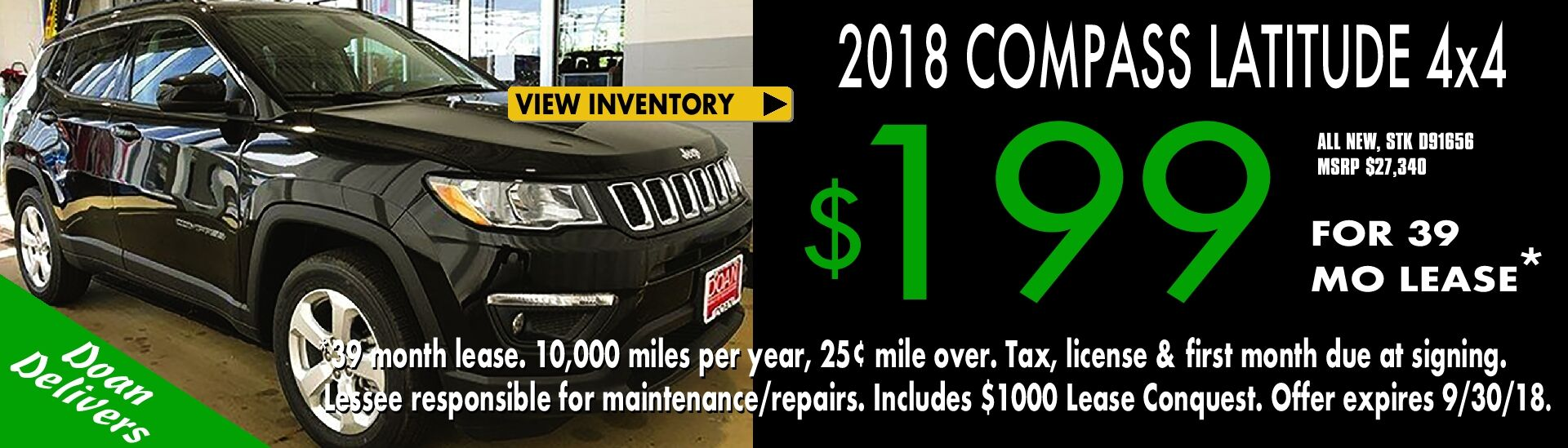 $199/mo. x 39 mos. - Lease the All-New 2018 Jeep Compass