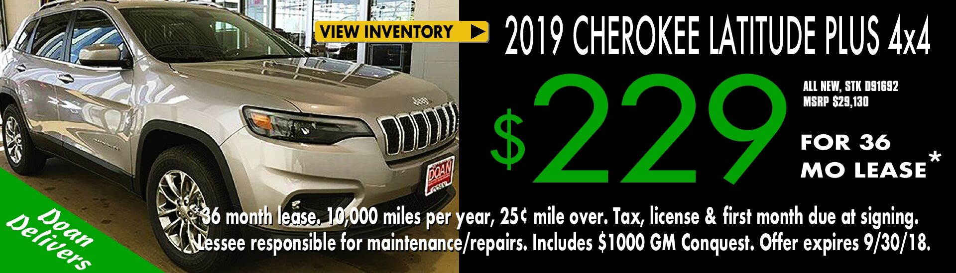 $229/mo. x 36 mos. - Lease the 2918 Jeep Cherokee