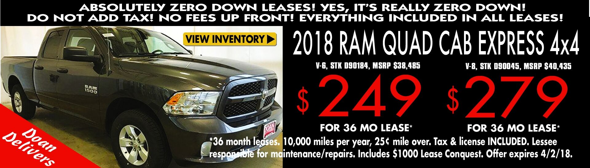 Lease a '18 RAM Quad Cab for as low as $249/mo.