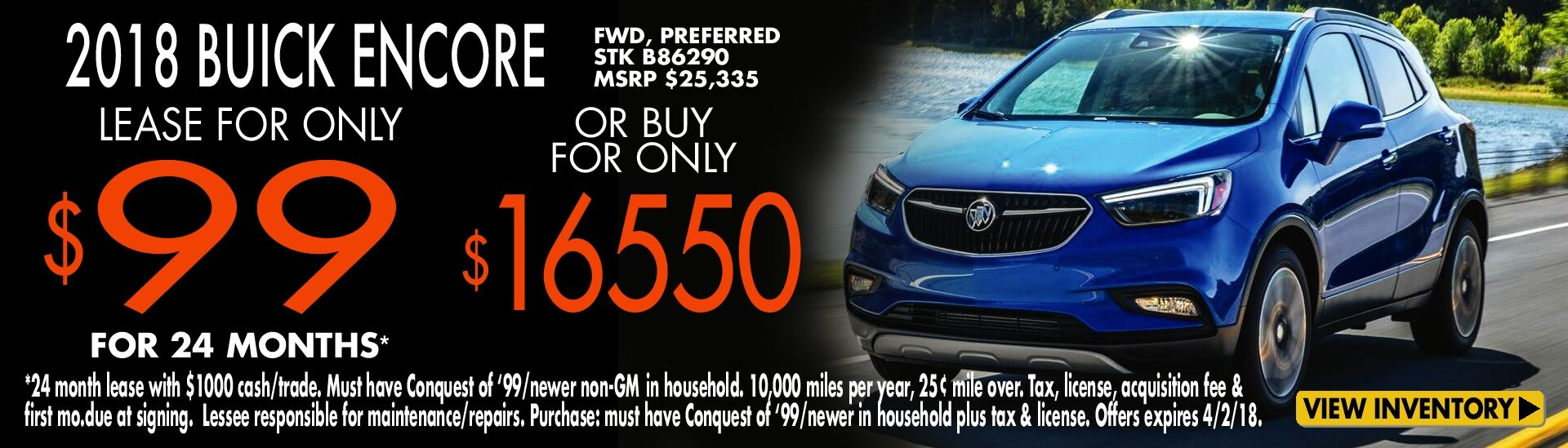 Lease a '18 Buick Encore just $99/mo.