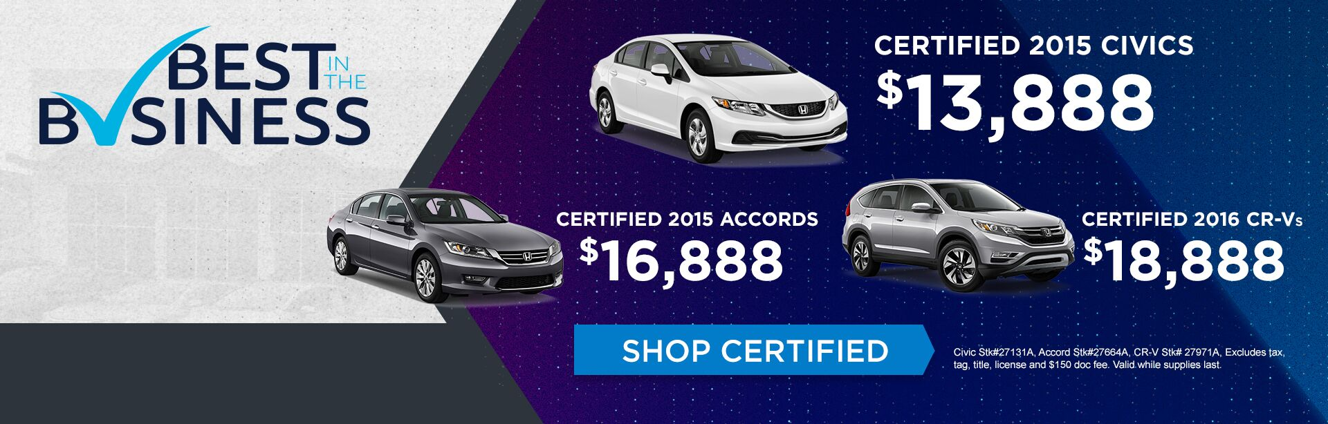 Certified Honda Sale