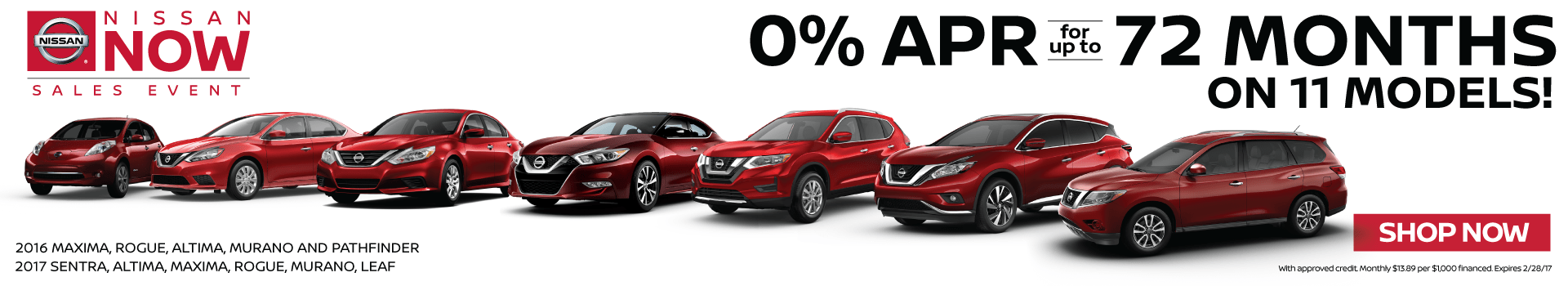 0% APR for 72 Months on 11 models
