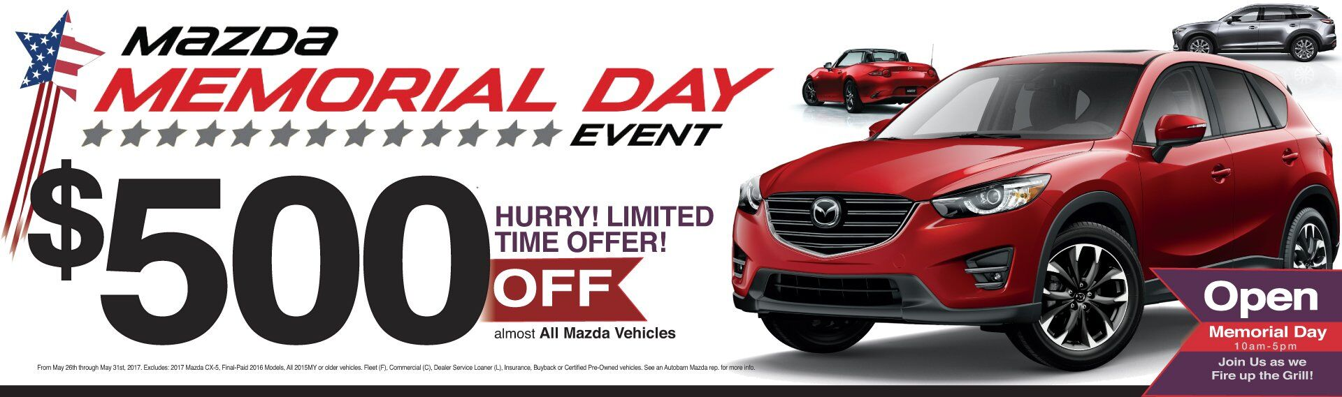 The Autobarn City Mazda Memorial Day Event Now Through Memorial Day