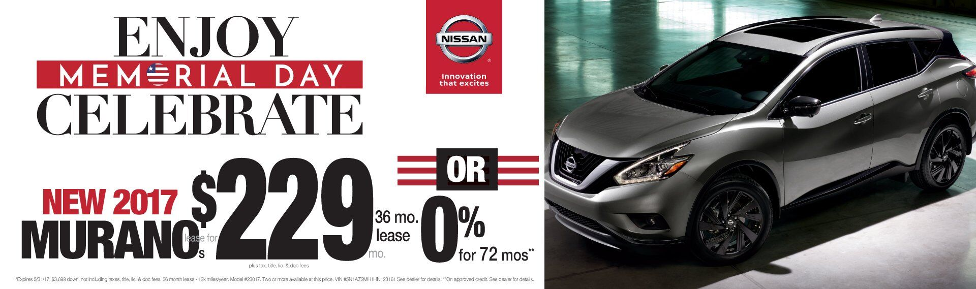 Memeorial Day Savings All Month Long on The Nissan Murano