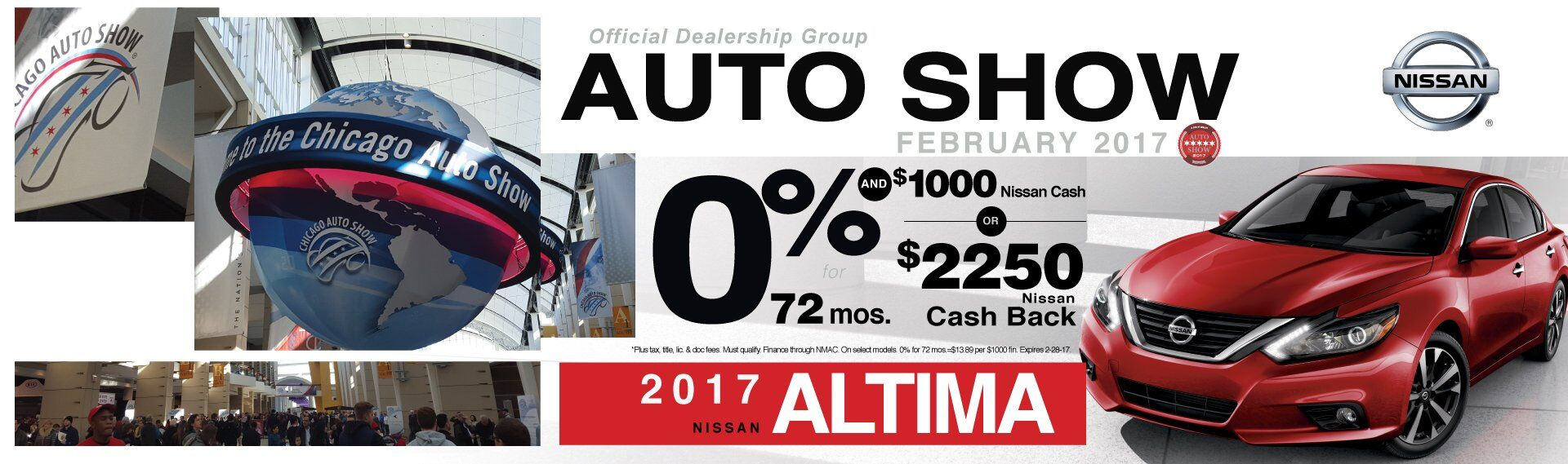0% APR or $2250 Cash Back on 2017 Nissan Altima