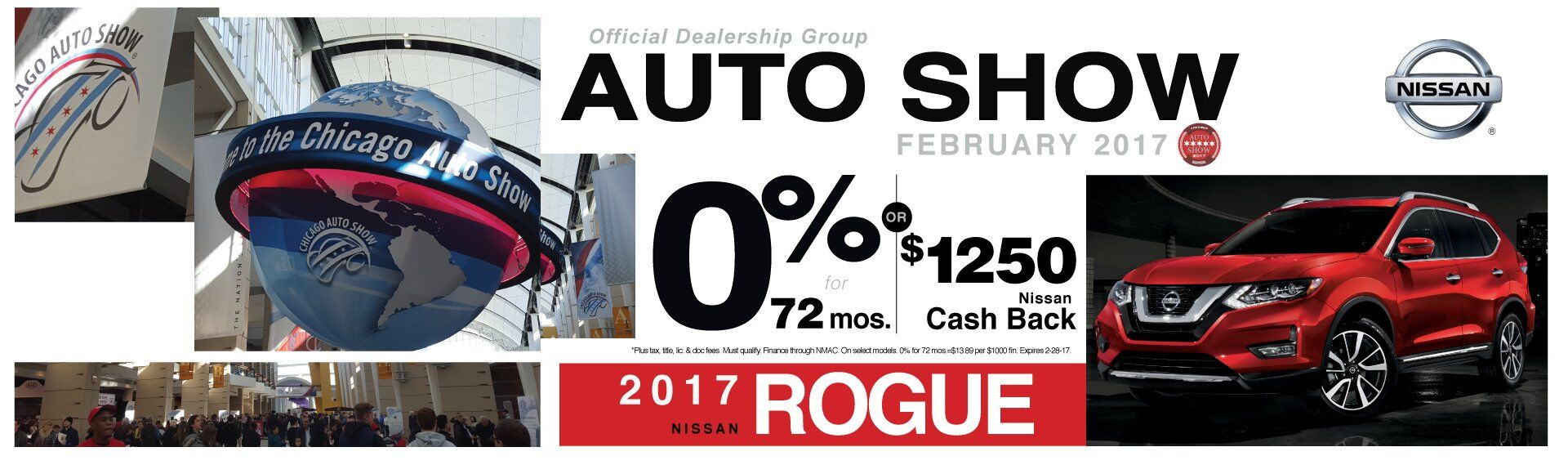 0% APR or $1250 Cash Back on 2017 Nissan rogue