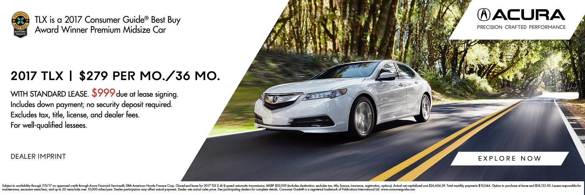 2017 TLX $279 Lease