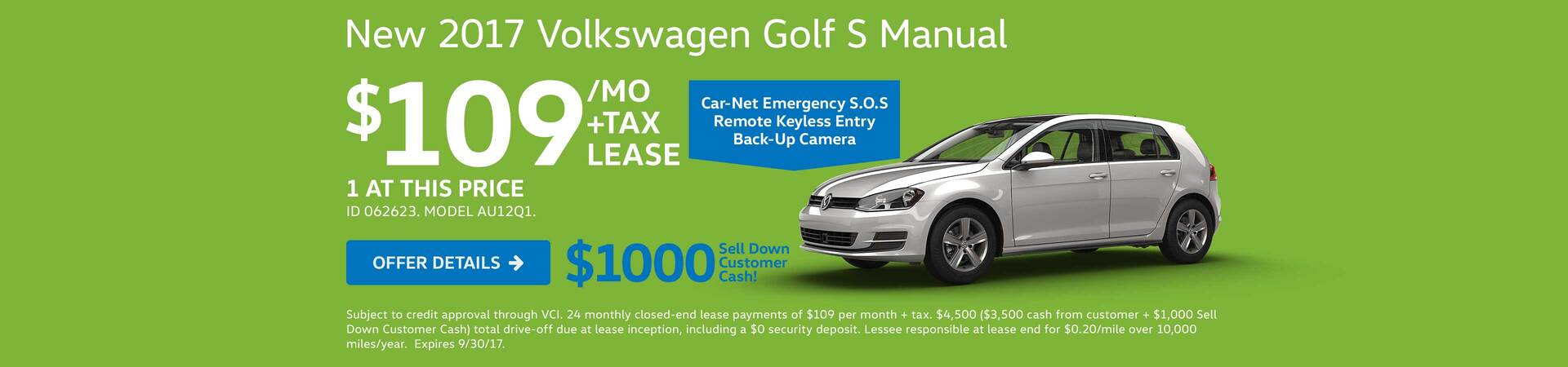 2017 Golf S Lease