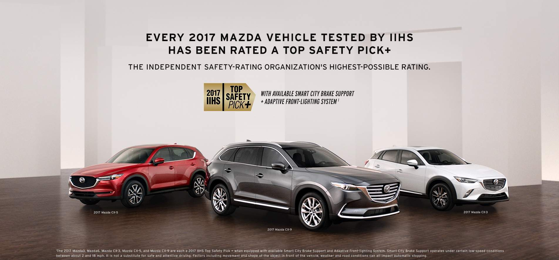 All 2017 Mazda Models received IIHS Top Safety Pick +