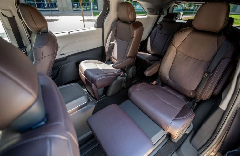 A photo of the second row of seats in the 2021 Toyota Sienna.