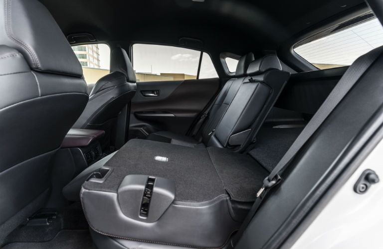 A photo of the rear seats folded down in the 2021 Toyota Venza.