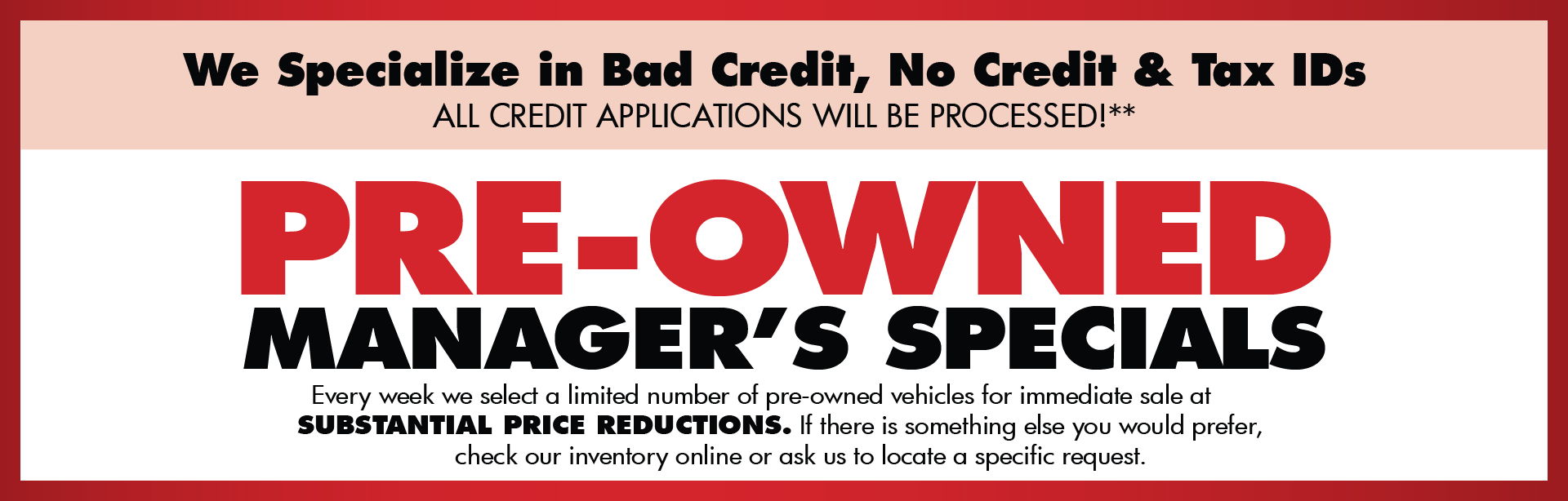 Pre-owned Manager Specials