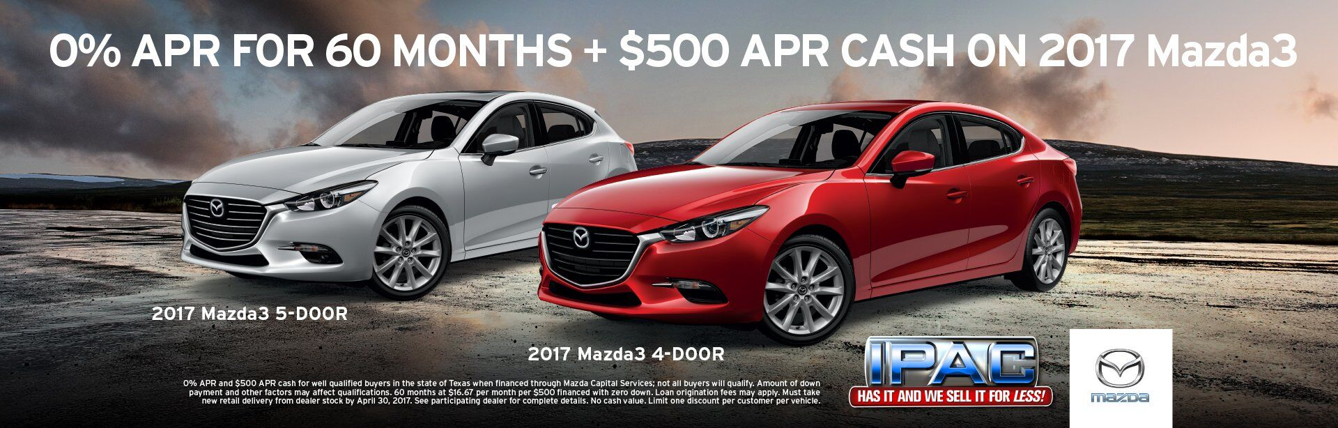 0% APR for 60 Months Mazda3
