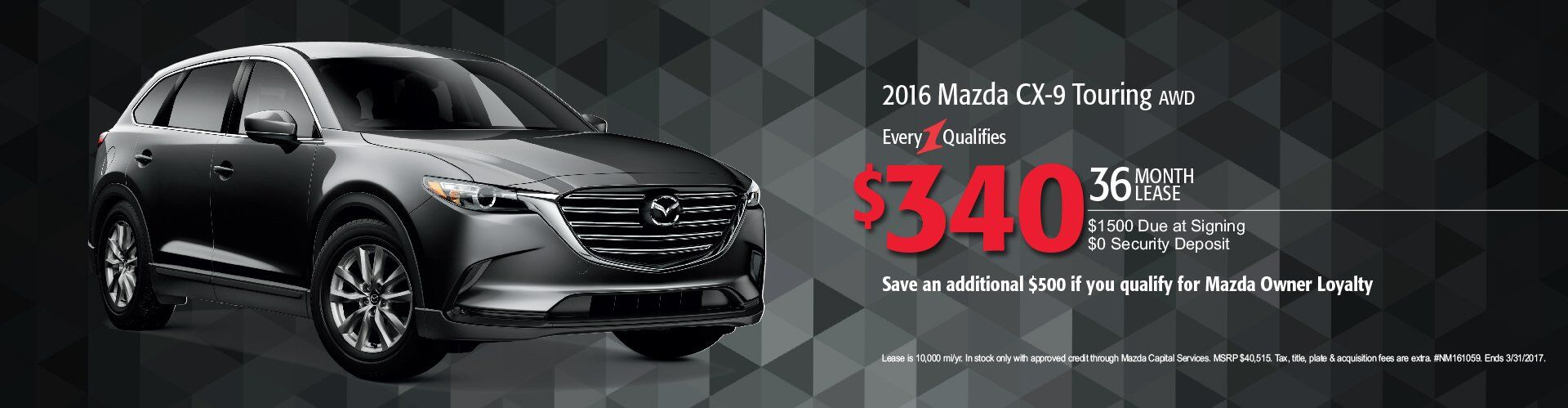 2016 Mazda CX-9 Touring Lease Pittsburgh PA