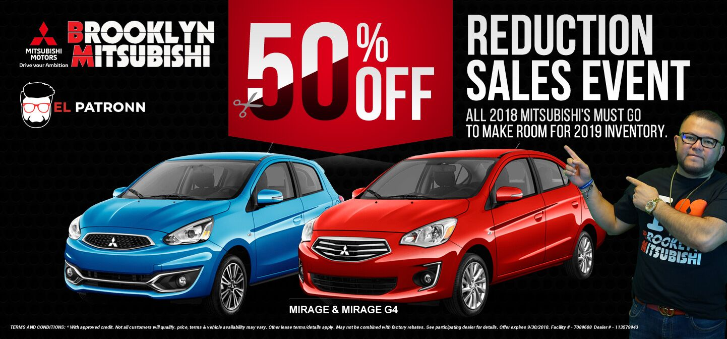 Mitsubishi Mirage 50% Reduction Sales Event