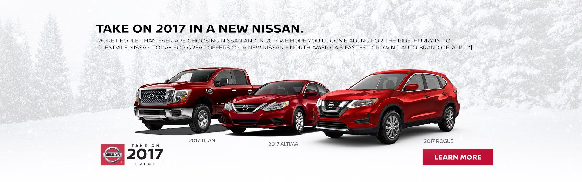 Take on 2017 in a new Nissan from Glendale Nissan