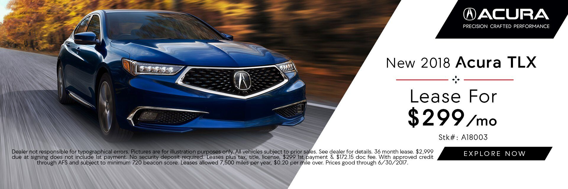 2018 TLX $299 Lease