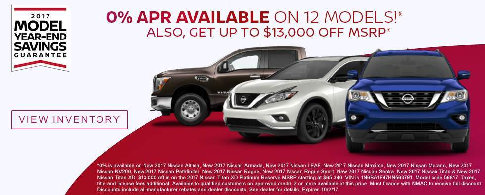 Get 0% APR Financing on 12 New 2017 Nissan Models in Charleston SC