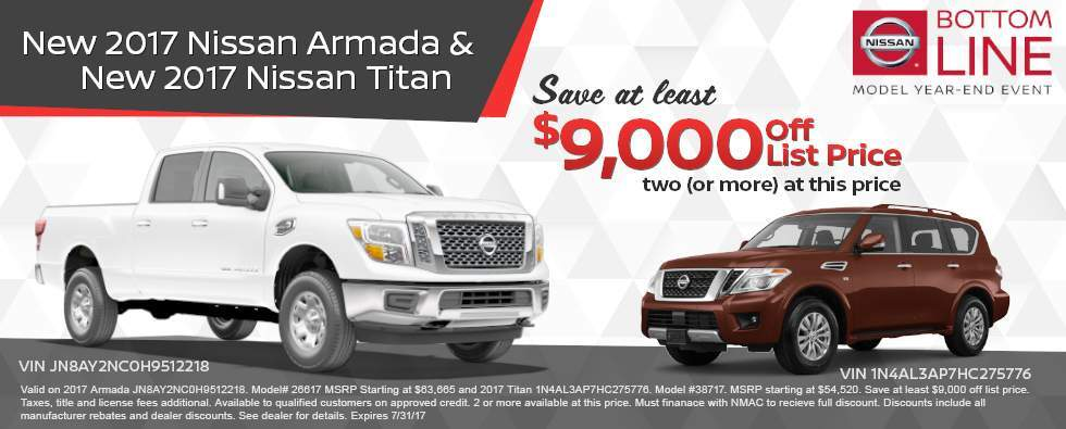 Armada's and Titans are $9,000 off at Charleston Nissan