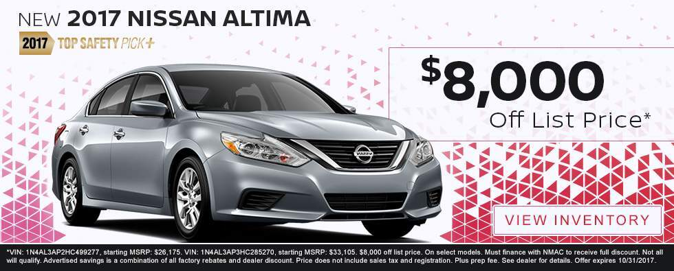 Save $8,000 off list price on a new 2017 Nissan Altima in Charleston SC