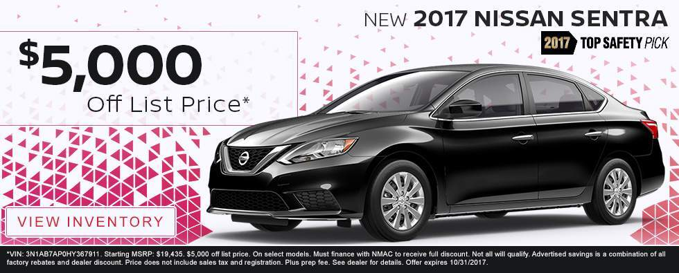 Save $5,000 off list price on a new 2017 Nissan Sentra in Charleston SC