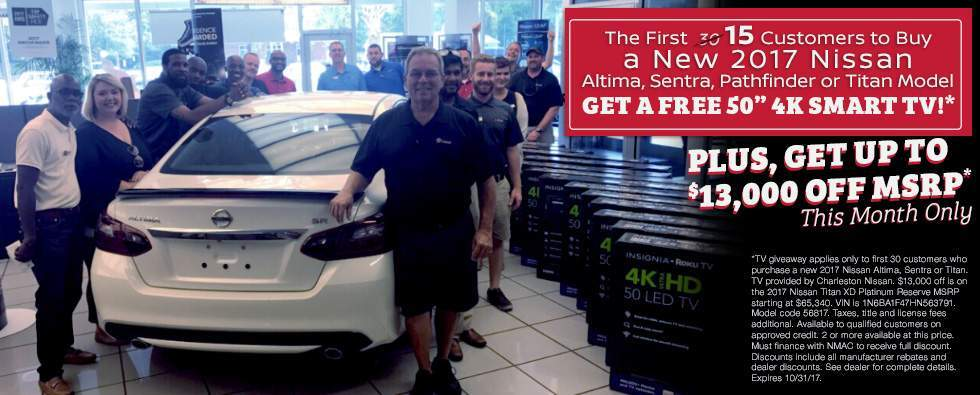 The first 30 customers to buy a select new Nissan model get a free 50-inch Smart TV in Charleston SC