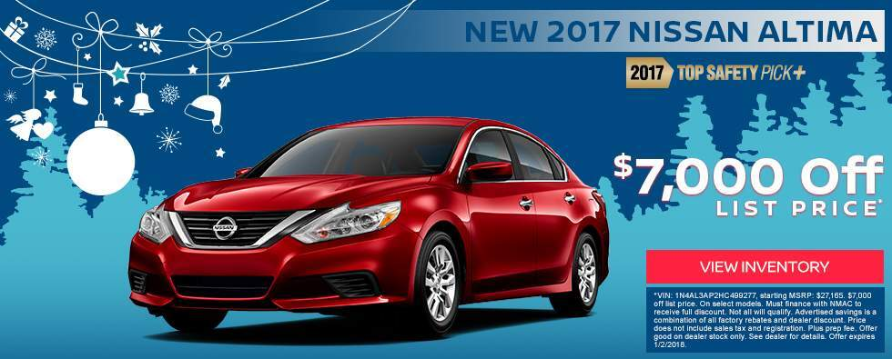Save $7,000 off a new 2017 Nissan Altima in Charleston SC