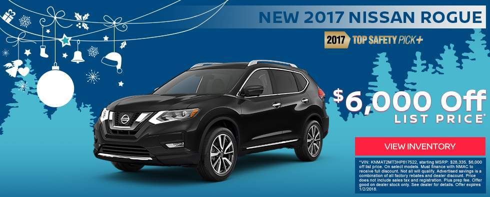 Save $6,000 off a new 2017 Nissan Rogue in Charleston SC