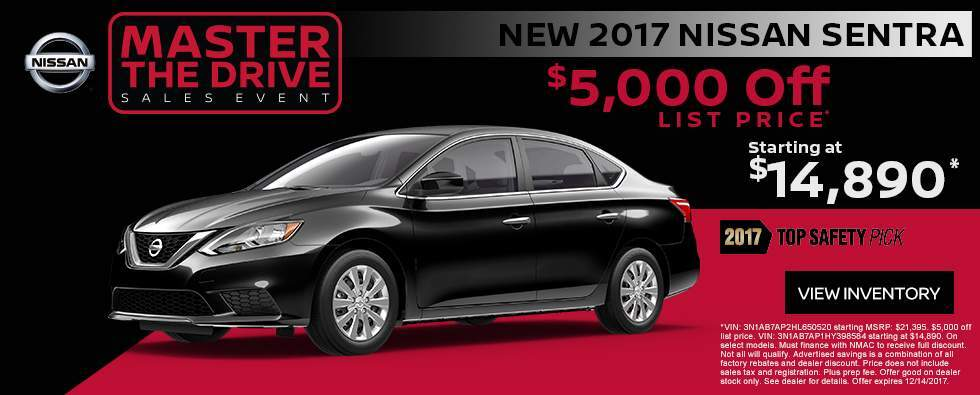 Save $5,000 off a new 2017 Nissan Sentra in Charleston SC