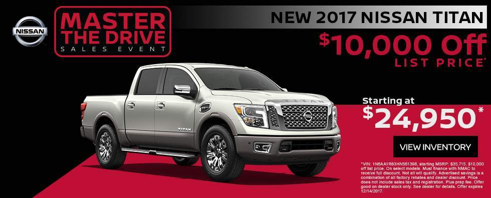 Save $10,000 off a new 2017 Nissan Titan in Charleston SC