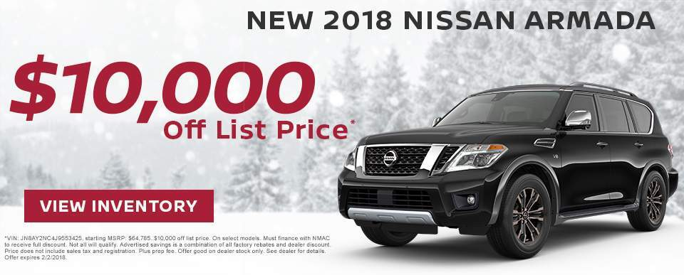 Save $10,000 off a new 2018 Nissan Armada in Charleston SC