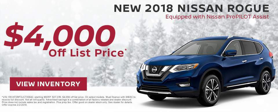 Save $4,000 off a new 2018 Nissan Rogue with ProPILOT Assist in Charleston SC