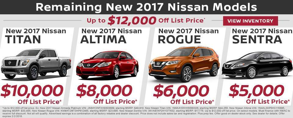 Save up to $12,000 off remaining new 2017 Nissan models in Charleston SC