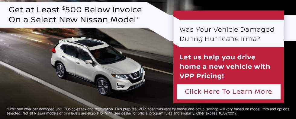 Vehicle damaged by Hurricane Irma? Get a new Nissan for at least $500 below invoice in Charleston SC