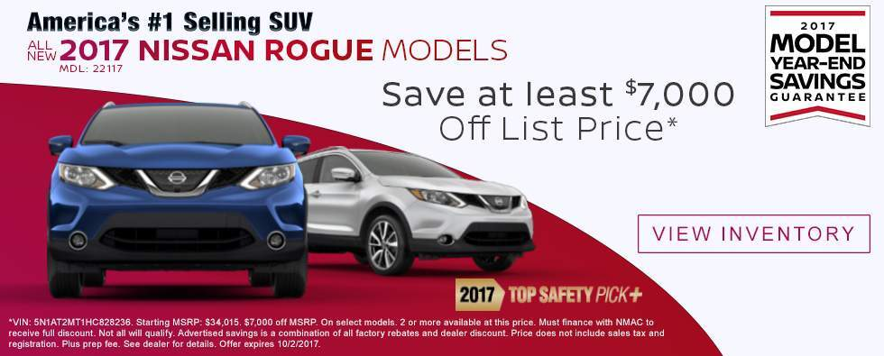 Save $7,000 Off List Price on New 2017 Nissan Rogue Models in Charleston SC