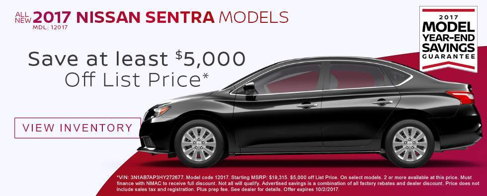Save $5,000 Off List Price on New 2017 Nissan Sentra Models in Charleston SC