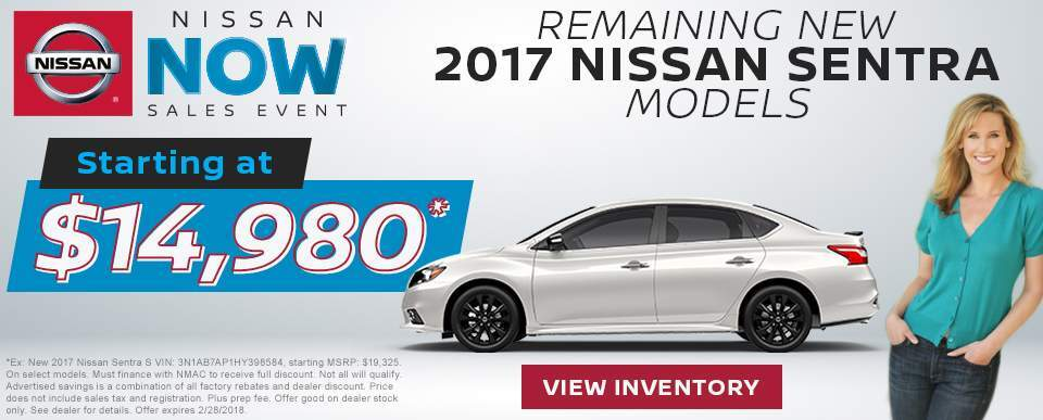 Drive home a new 2017 Nissan Sentra for as low as $14,980 in Charleston SC