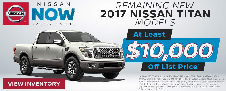 Save at least $10,000 off a new 2017 Nissan Titan model in Charleston SC