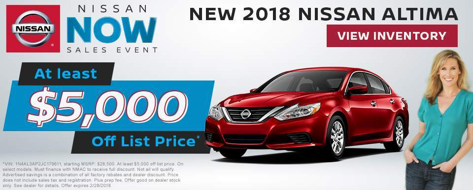 Save at least $5,000 off a new 2018 Nissan Altima in Charleston SC