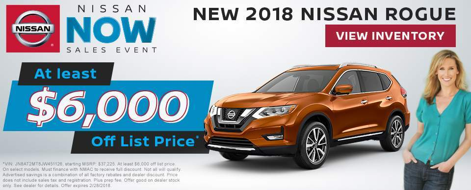 Save at least $6,000 off a new 2018 Nissan Rogue in Charleston SC