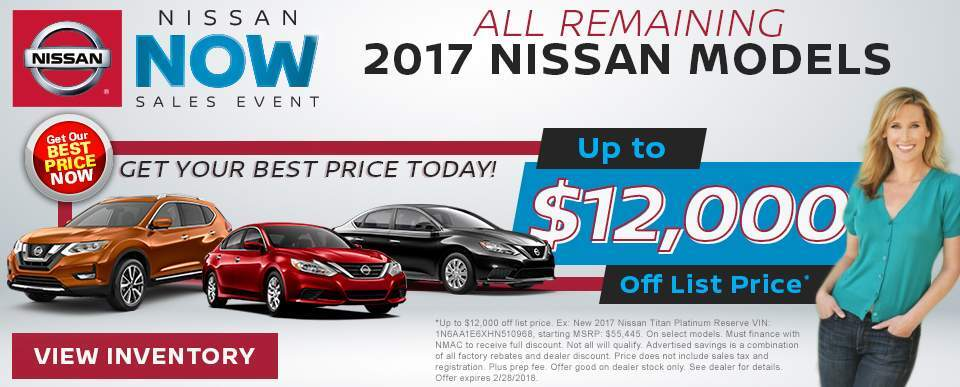 Save up to $12,000 off all remaining 2017 Nissan models in Charleston SC