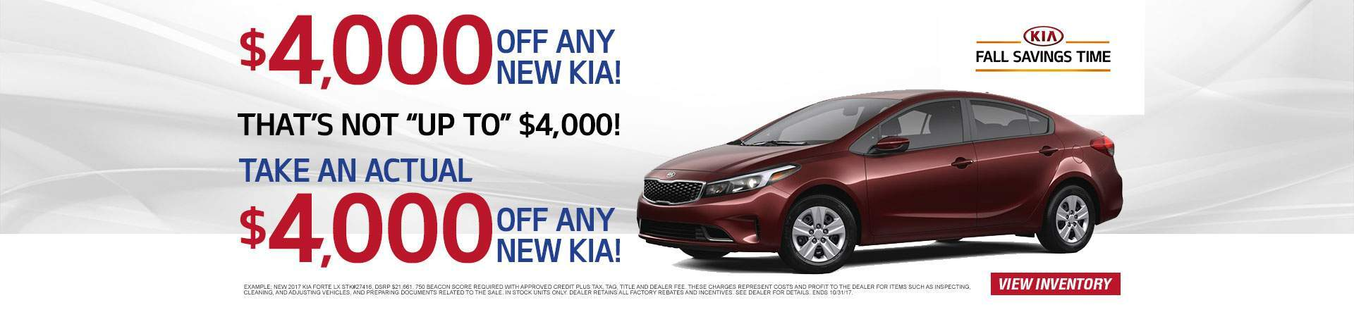 $4,000 Off New Kias