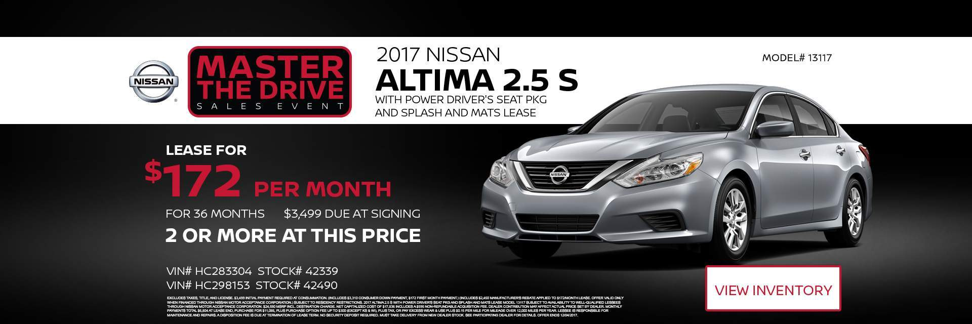 Master the drive sales event 2017 Nissan Altima 2.5 S