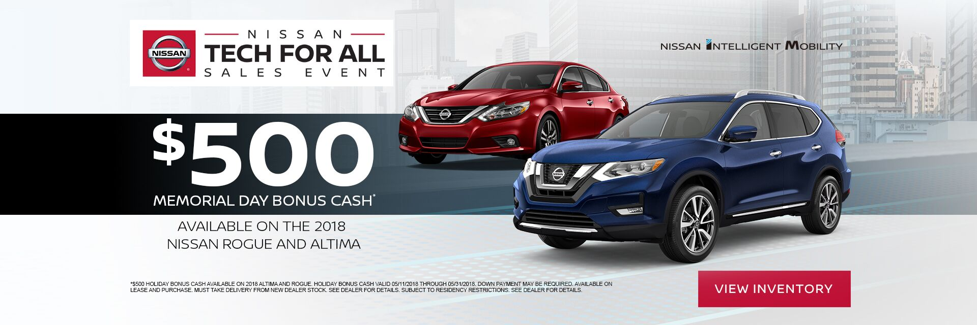 2018 Nissan Rogue and Altima Memorial Day Bonus Cash