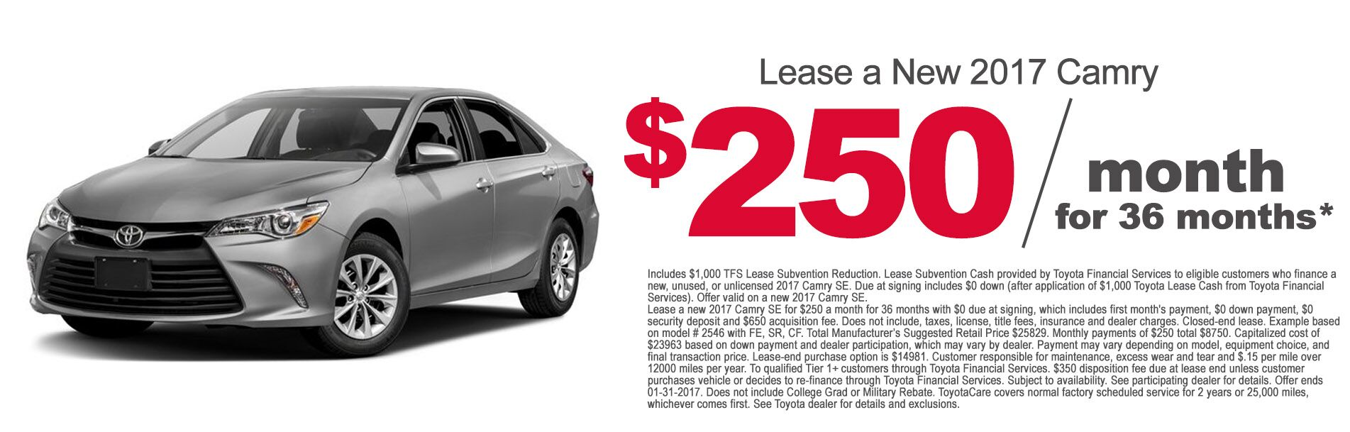2017 Camry Lease Deal at Rochester Toyota